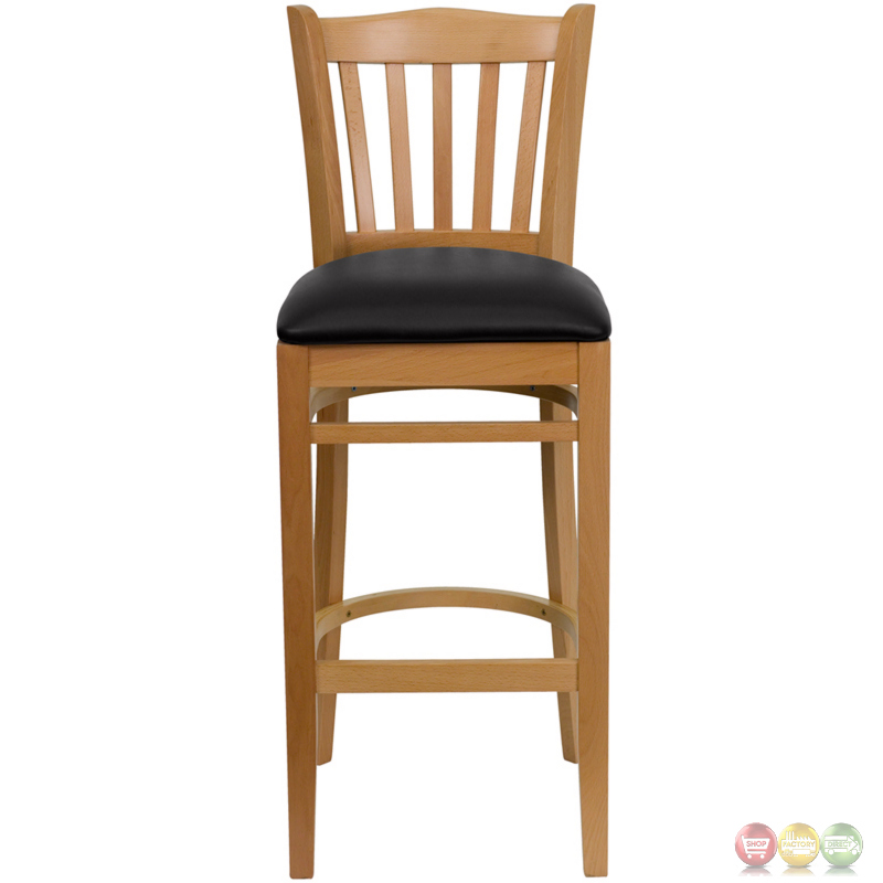 Hercules Natural Slat Back Wooden Restaurant Barstool With