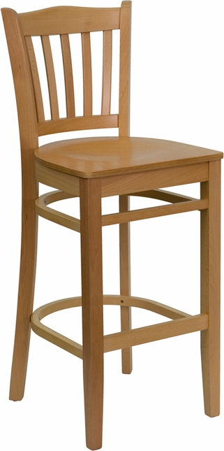 Hercules Natural Wood Finished Vertical Slat Back Wooden Restaurant Barstool
