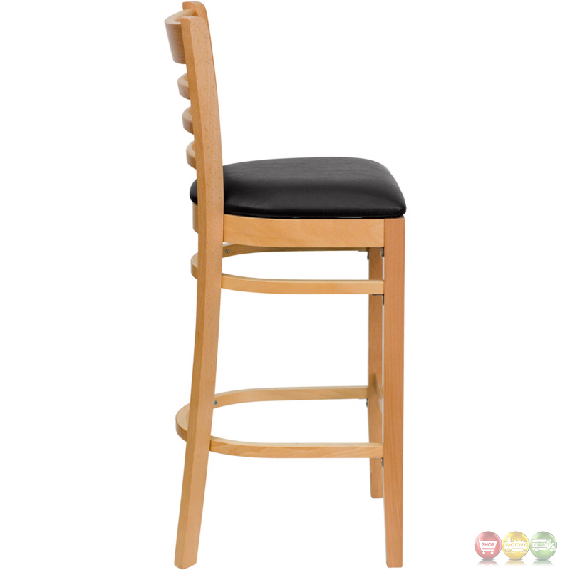 Hercules Natural Wood Ladder Back Restaurant Barstool With