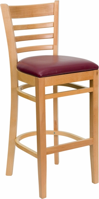 Hercules Natural Wood Ladder Back Wooden Barstool With Burgundy Vinyl Seat