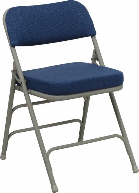 Set of 2, Hercules Premium Double Hinged Navy Fabric Upholstered Metal Folding Chair