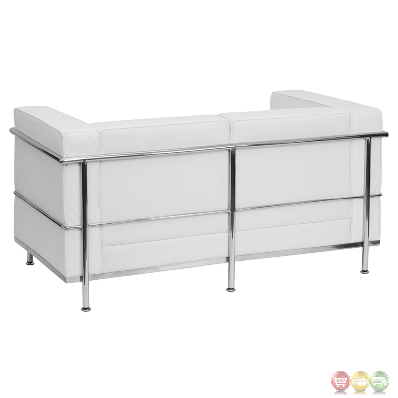 Hercules Regal Series Contemporary White Leather Loveseat