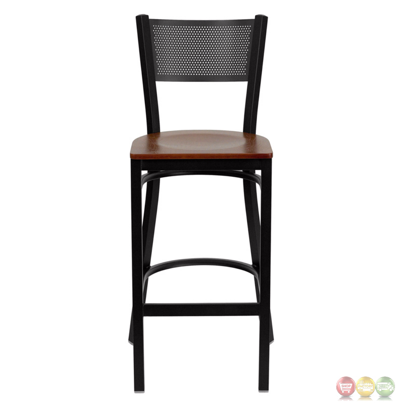 Hercules Series Black Grid Back Metal Restaurant Barstool