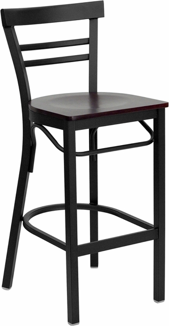 Hercules Series Black Ladder Back Metal Restaurant Barstool - Mahogany Wood Seat