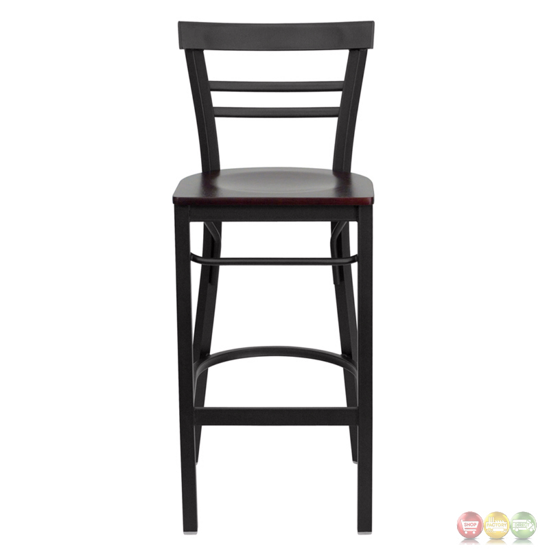 Hercules Series Black Ladder Back Metal Restaurant