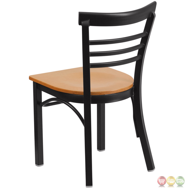 Hercules Series Black Ladder Back Metal Restaurant Chair