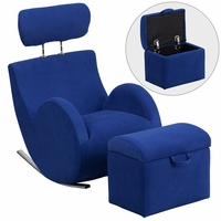 Hercules Series Blue Fabric Rocking Chair With Storage Ottoman