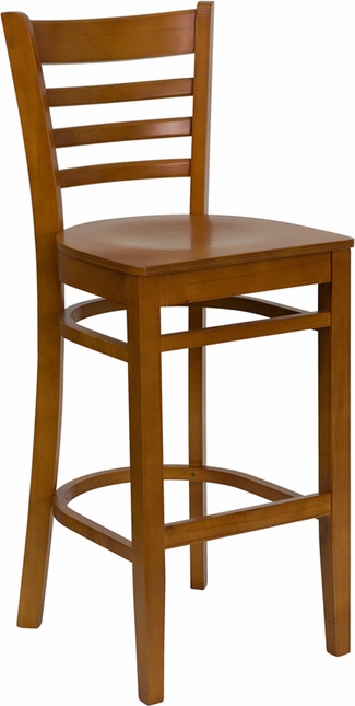 Hercules Series Cherry Finished Ladder Back Wooden Restaurant Barstool