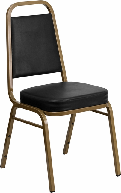 Hercules Trapezoidal Back Stacking Banquet Chair W/ Black Vinyl & Gold Frame
