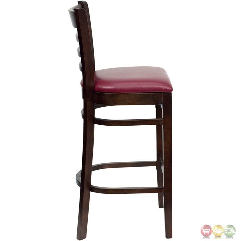 Hercules Walnut Ladder Back Wooden Restaurant Barstool