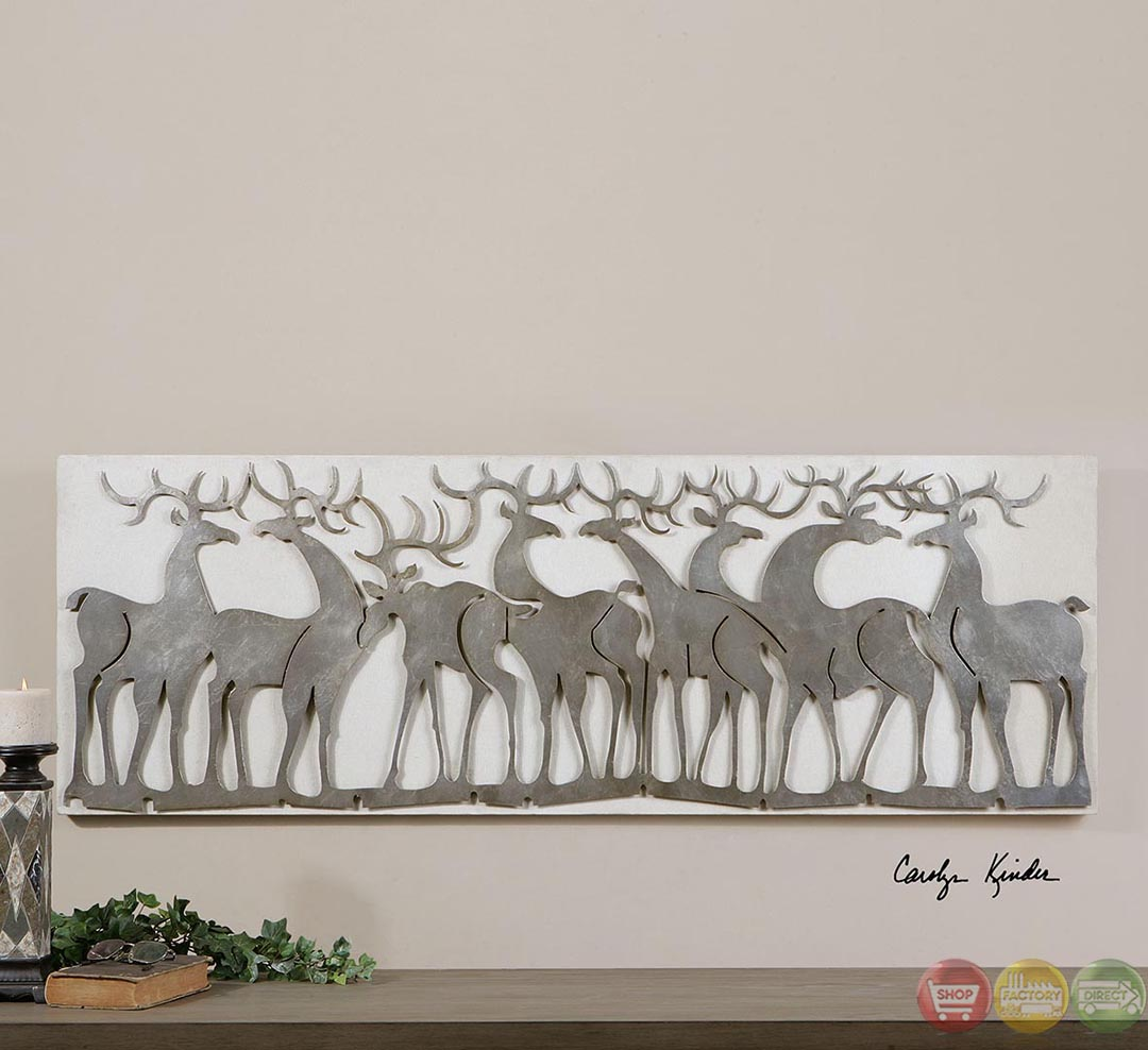 Silver Leaves Wall Decor : Herd of deer traditional lightly antiqued silver leaf wall