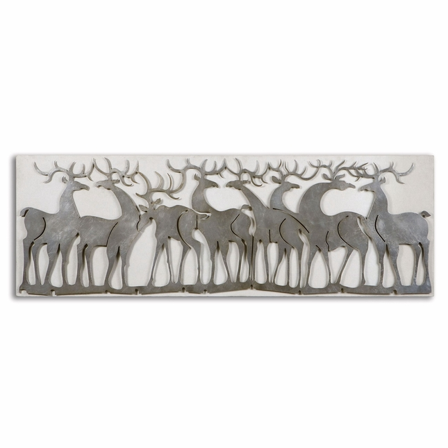 Herd of Deer Traditional Lightly Antiqued Silver Leaf Wall Art  07682