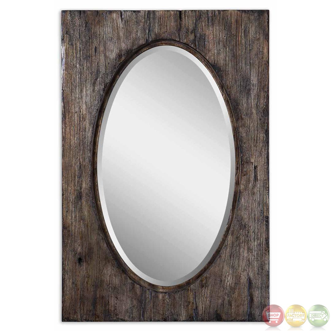 Hichcock rustic heavily distressed wood vanity oval mirror for Rustic mirror