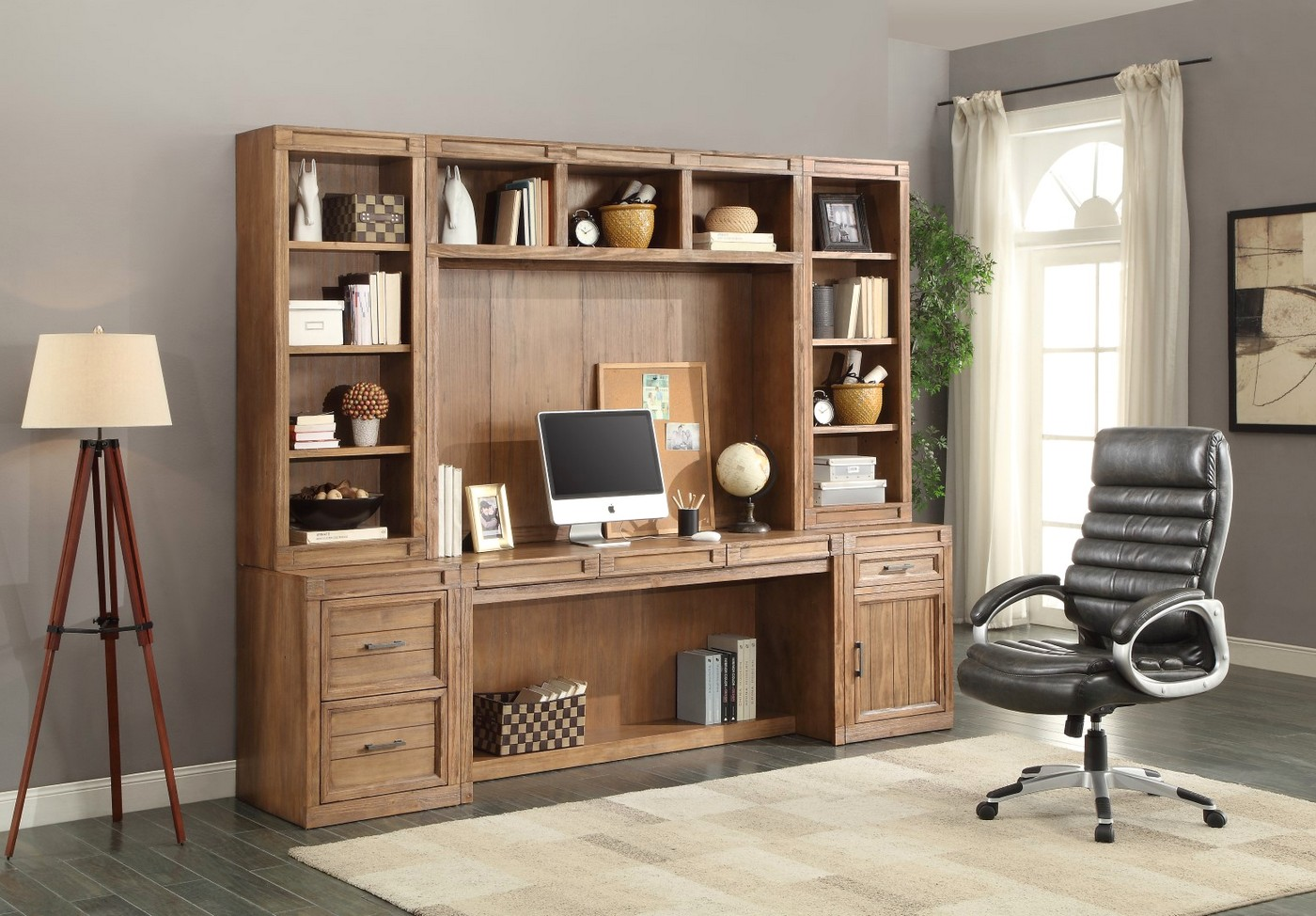 Hickory Creek Farmhouse Style 6pc Home Office Desk Set In Vintage Honey Pine