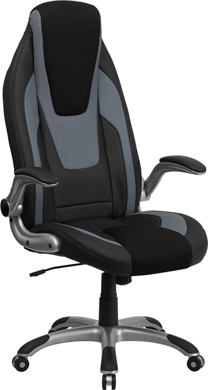 High Back Black And Gray Vinyl Executive Office Chair With