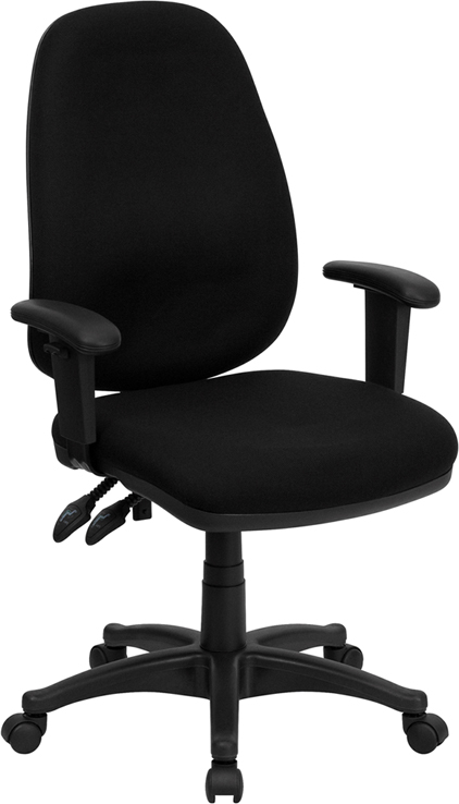 high back black fabric ergonomic computer chair with height adjustable arms bt 661 bk gg. Black Bedroom Furniture Sets. Home Design Ideas