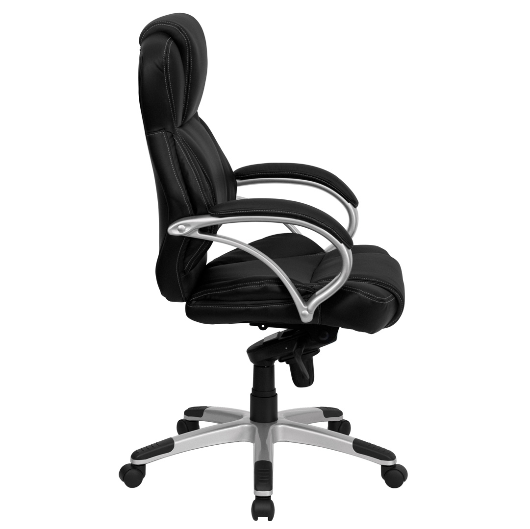 High back black leather contemporary office chair h 9626l 2 gg for High back leather chairs