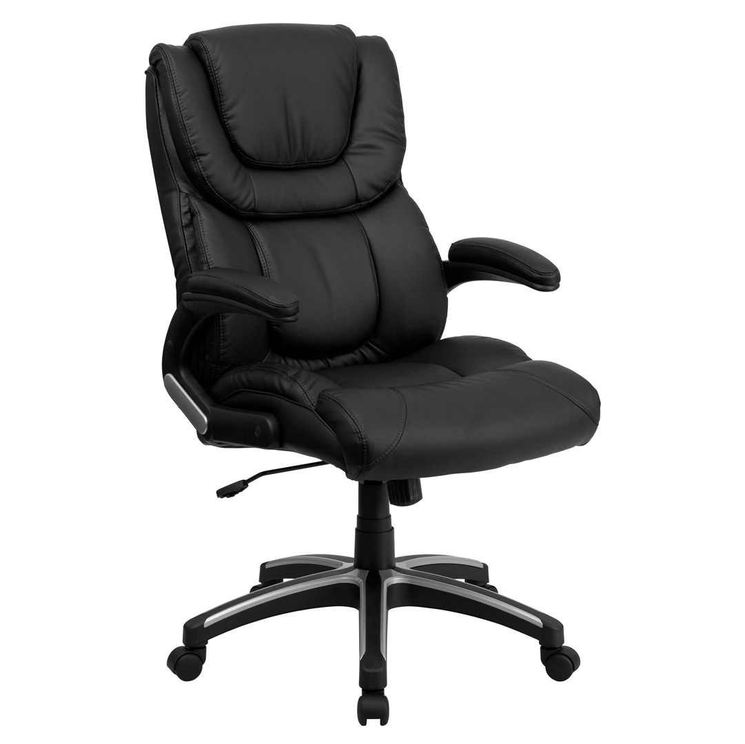 High back black leather executive office chair bt 9896h gg for High back leather chairs