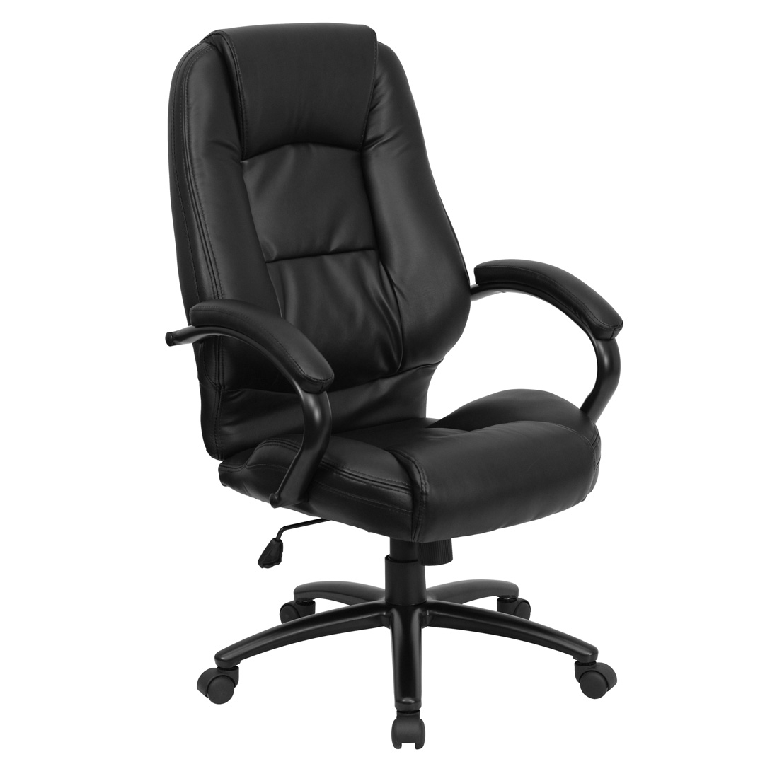 High back black leather executive office chair go 710 bk gg for High back leather chairs