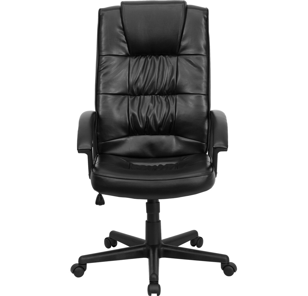High back black leather executive office chair go 7102 gg for High back leather chairs