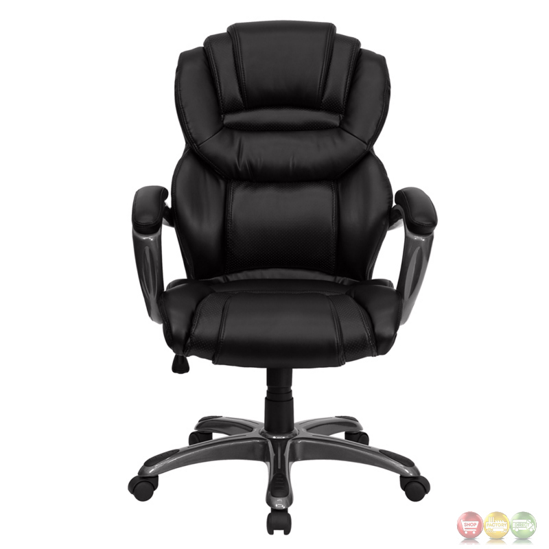 High back black leather executive office chair with