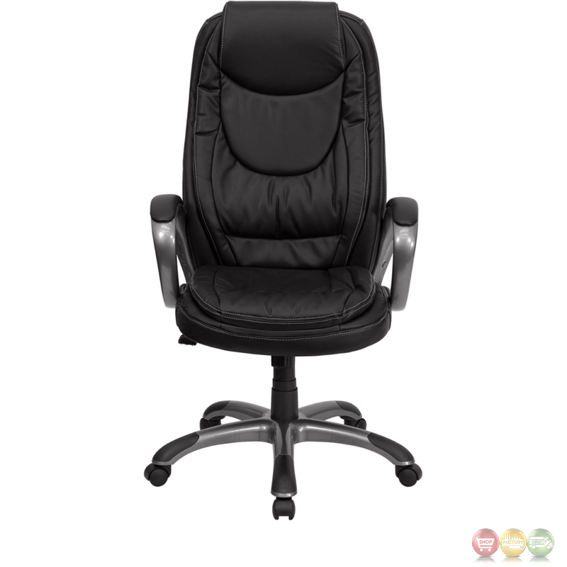 High Back Black Leather Executive Swivel fice Chair CH