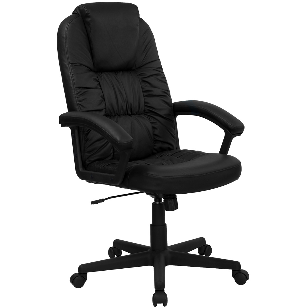 High back black leather executive swivel office chair bt for High back leather chairs