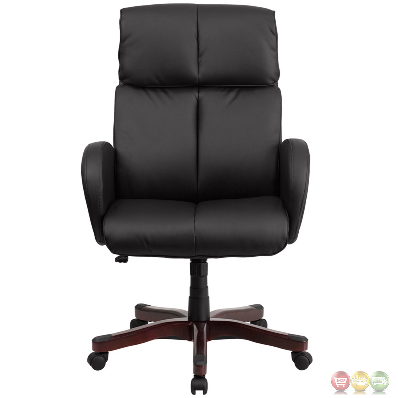 high back black leather executive swivel office chair w fully upholstered arms. Black Bedroom Furniture Sets. Home Design Ideas