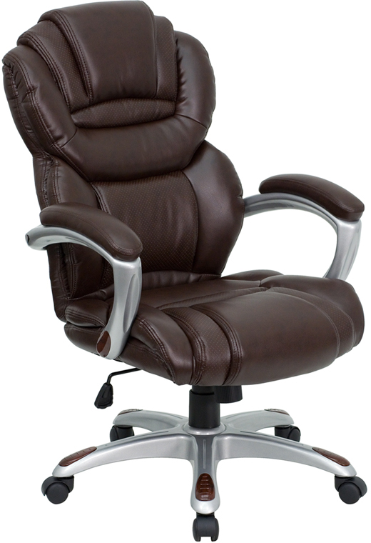 high back brown leather executive office chair with padded loop arms