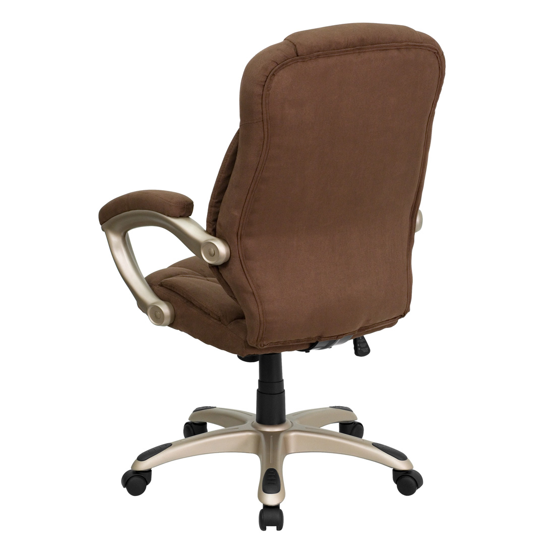 High back brown microfiber upholstered contemporary office for Contemporary office chairs modern