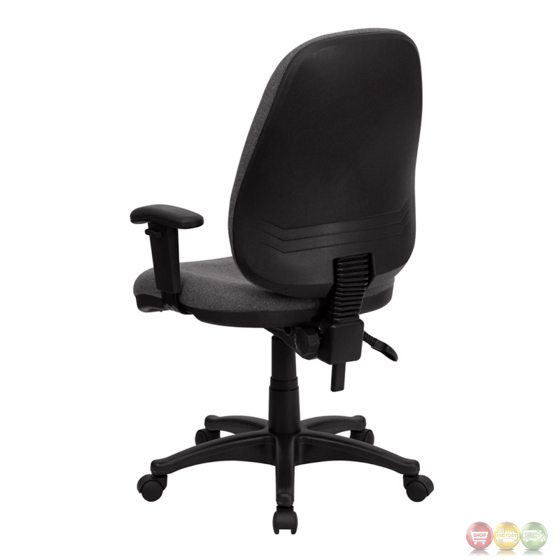 High Back Gray Fabric Ergonomic Computer Chair with Height ...