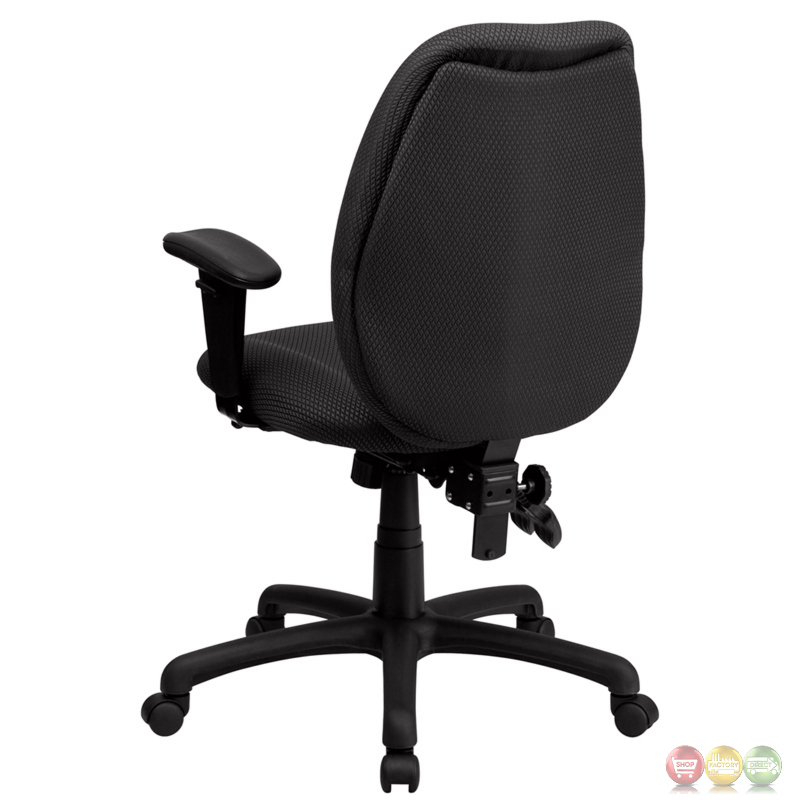 high back gray fabric executive swivel office chair w height adjustable arms. Black Bedroom Furniture Sets. Home Design Ideas