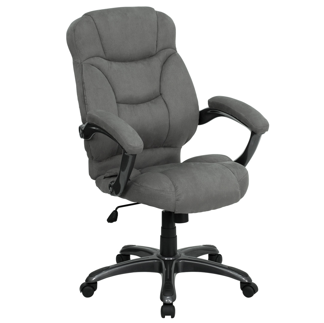 high back gray microfiber upholstered contemporary office chair go 725 gy gg ebay. Black Bedroom Furniture Sets. Home Design Ideas
