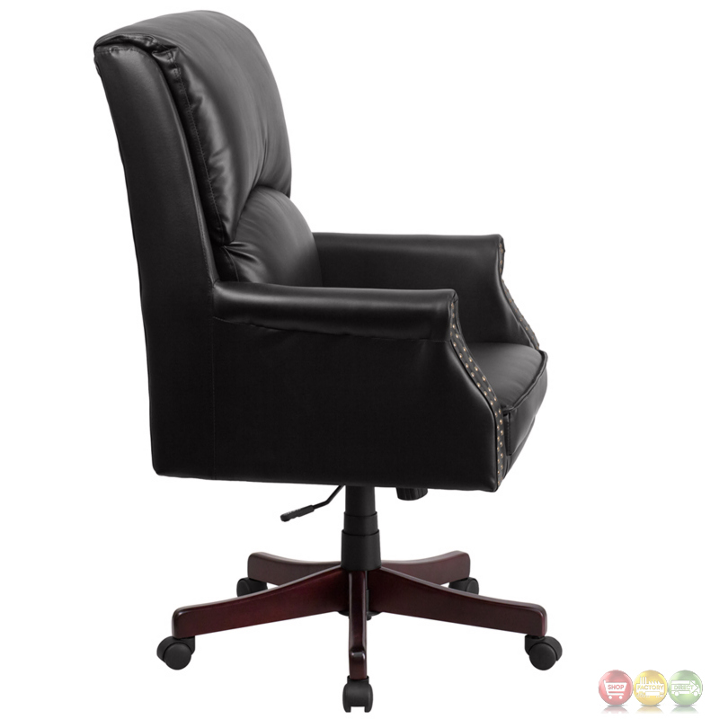 High back pillow back black leather executive swivel for High back leather chairs