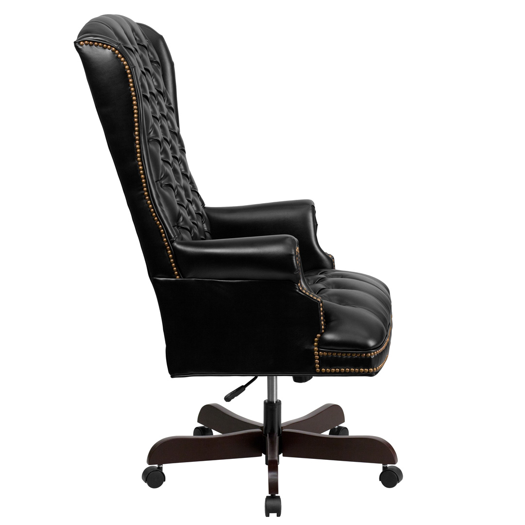 High back traditional tufted black leather executive for High back leather chairs