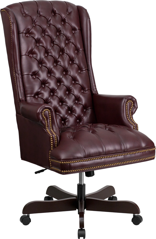 Image Is Loading High Back Traditional Tufted Burgundy Red Leather Executive