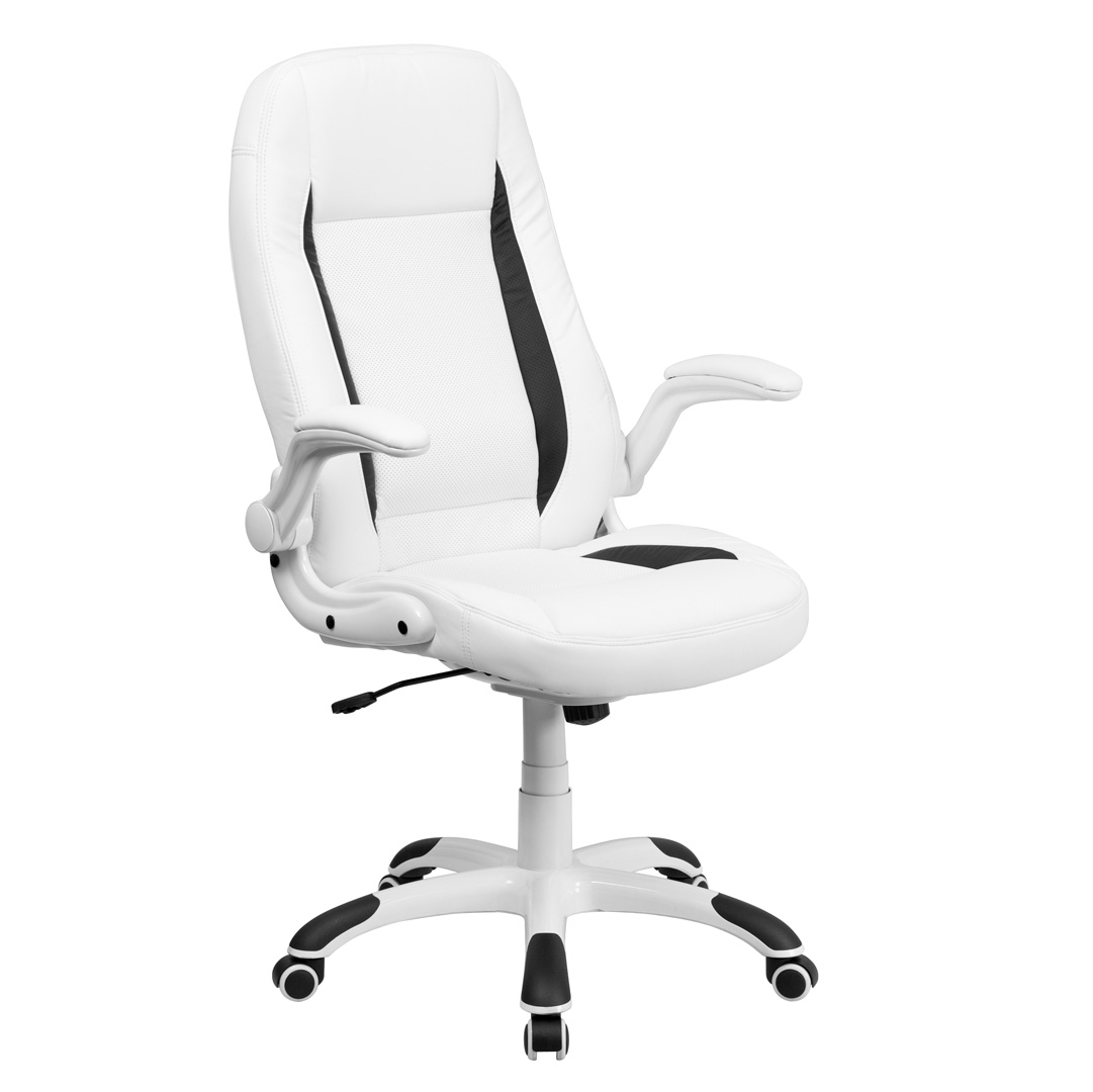high back white leather executive office chair with flip