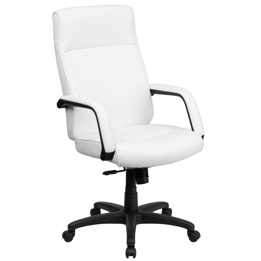 High back white leather executive office chair with memory for Desk chair white leather