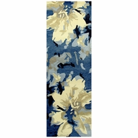 Highland Soft New Zealand Wool Runner Area Rug 2'6x8' Navy Blue White Tan Floral