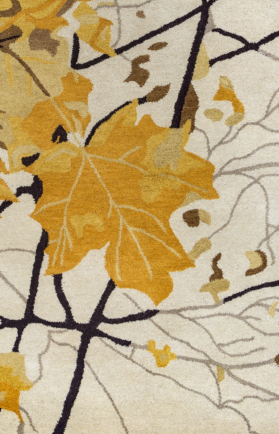 Highland Autumn Leaves Wool Area Rug In Gold Khaki Tan
