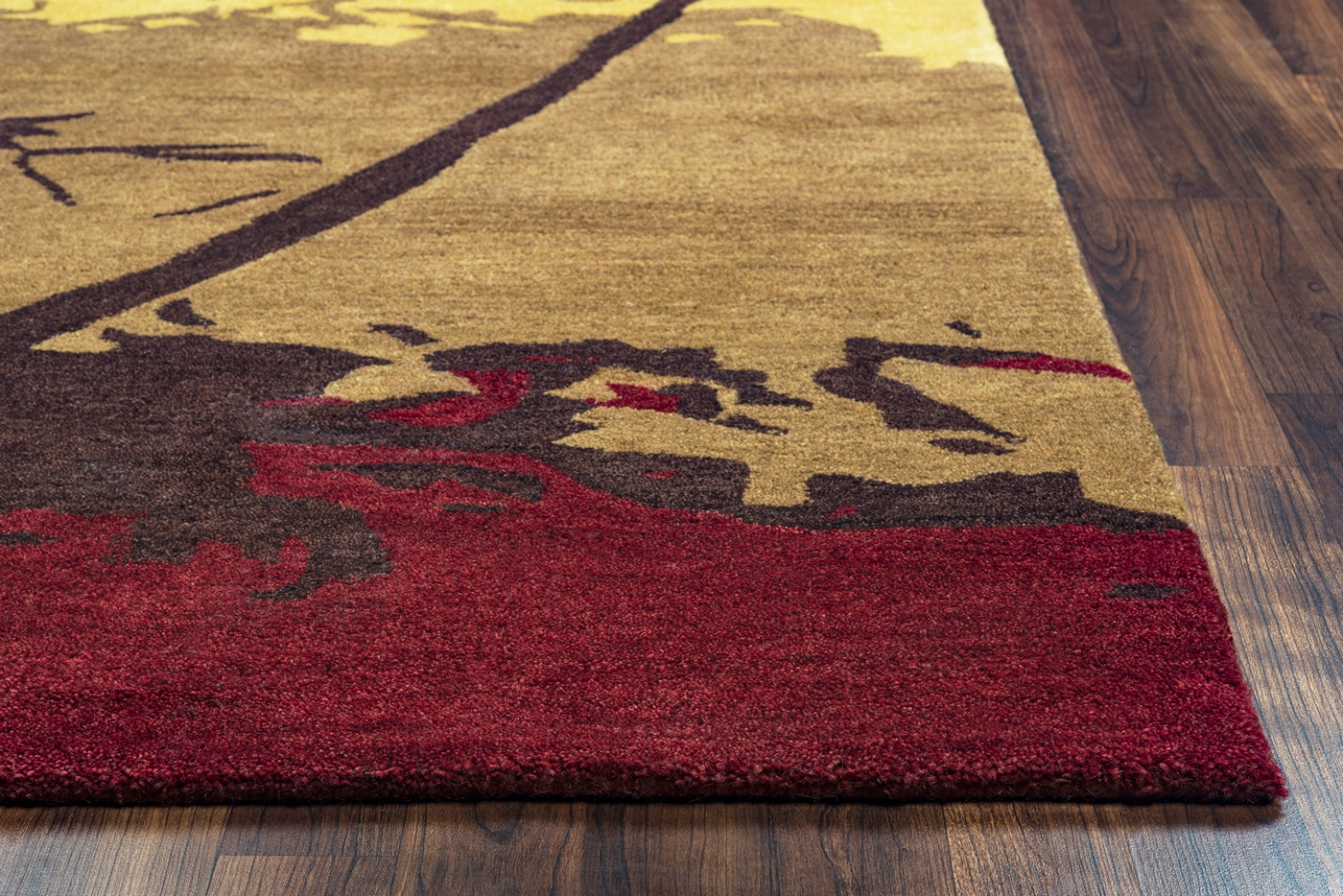 Highland Autumn Season Wool Area Rug In Red Black Tan