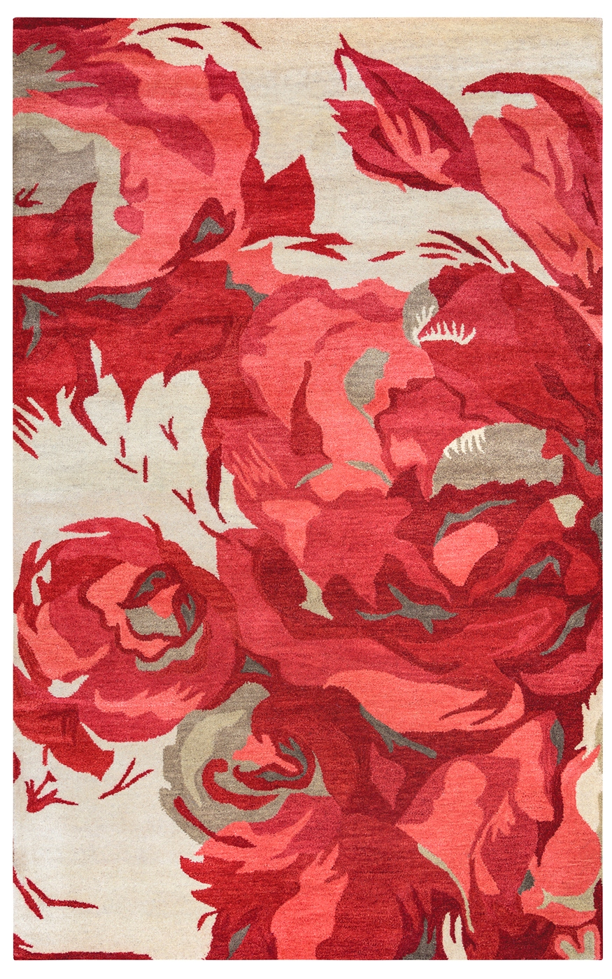 Highland Elegant Rose Wool Area Rug In Red Amp Ivory 8 X 10