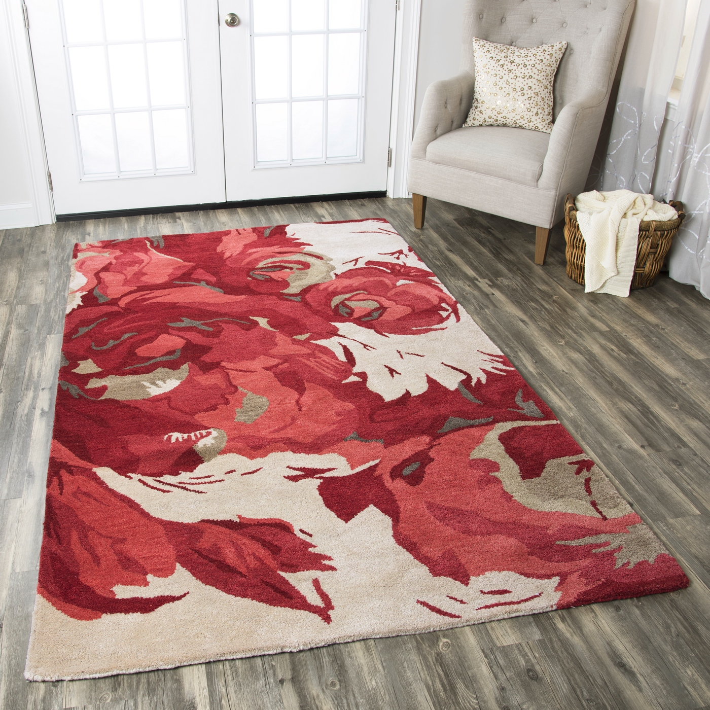 Highland Elegant Rose Wool Area Rug In Red Amp Ivory 9 X 12