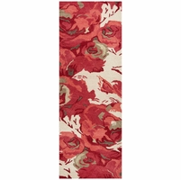 """Highland Soft New Zealand Wool Runner Area Rug 2'6""""x 8' Red Ivory White Floral"""