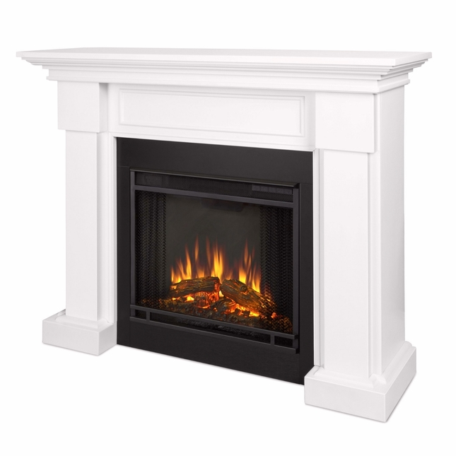 Hillcrest LED Electric Heater Fireplace In White, 4700BTU, 48x39