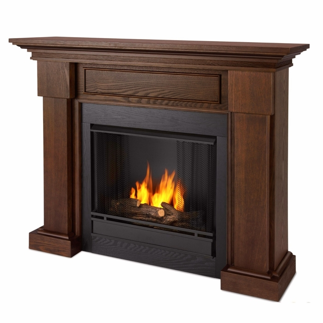 Hillcrest Ventless Gel Fuel Fireplace In Chestnut Oak With Logs, 48x39