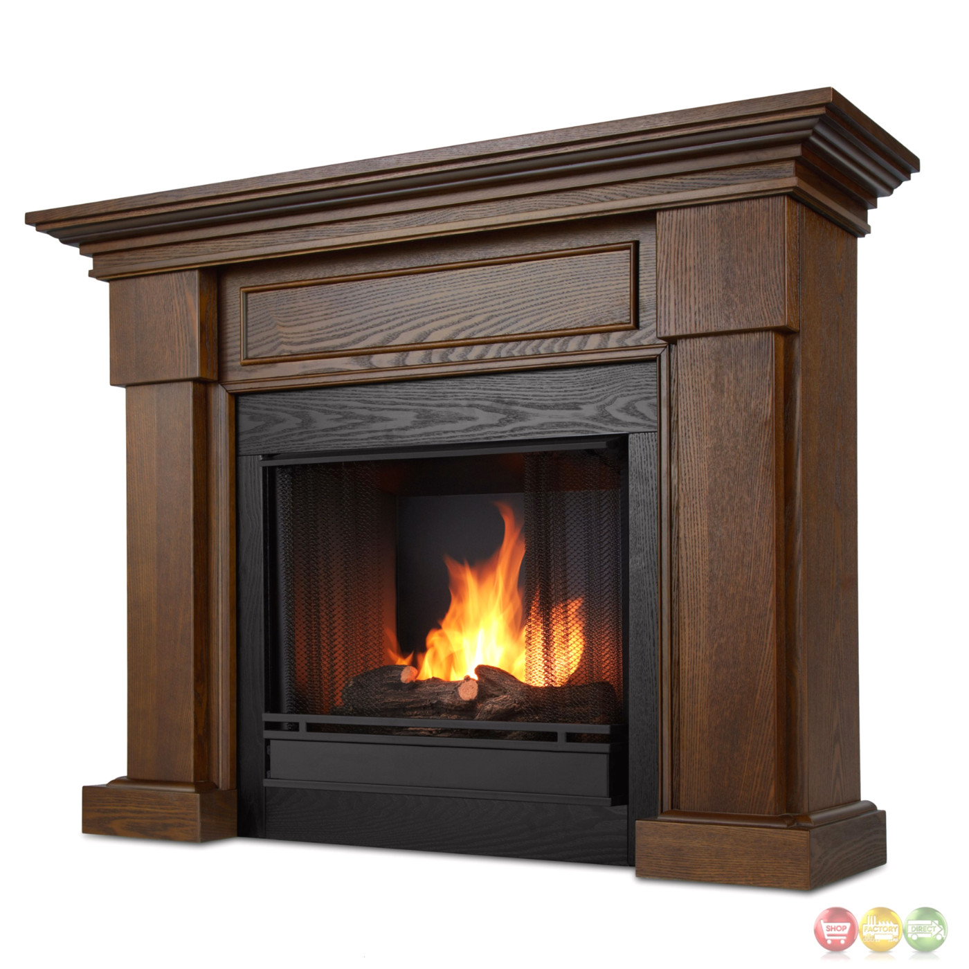 Hillcrest Ventless Gel Fuel Fireplace In Chestnut Oak With Logs 48x39