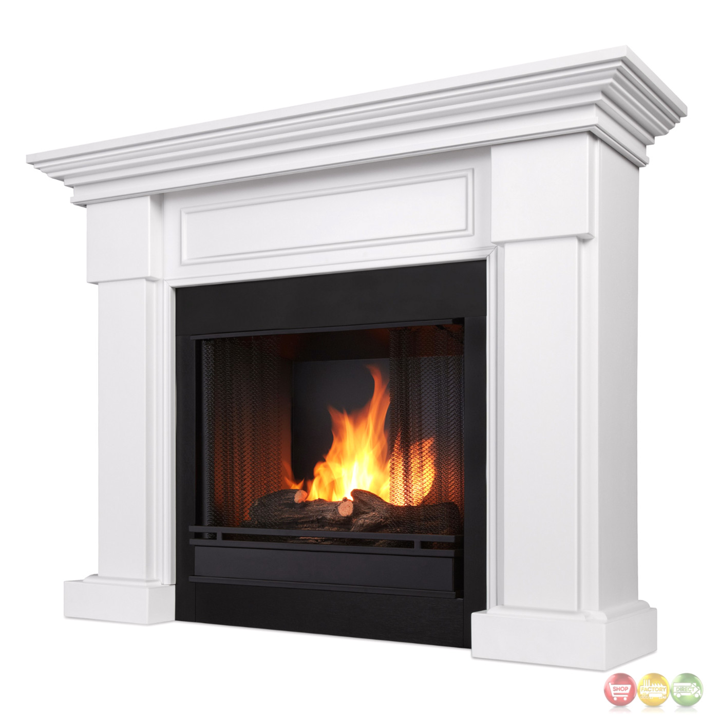 hillcrest ventless gel fuel fireplace in white with logs 48x39. Black Bedroom Furniture Sets. Home Design Ideas