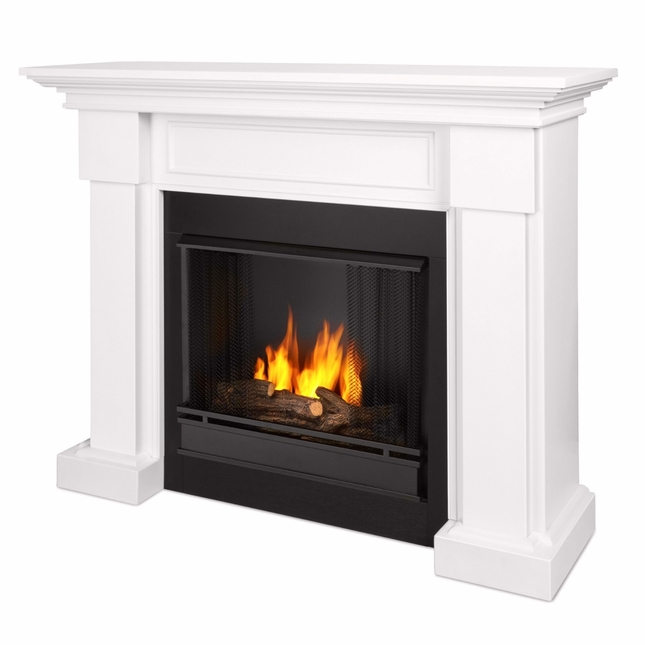 Hillcrest Ventless Gel Fuel Fireplace In White With Logs, 48x39