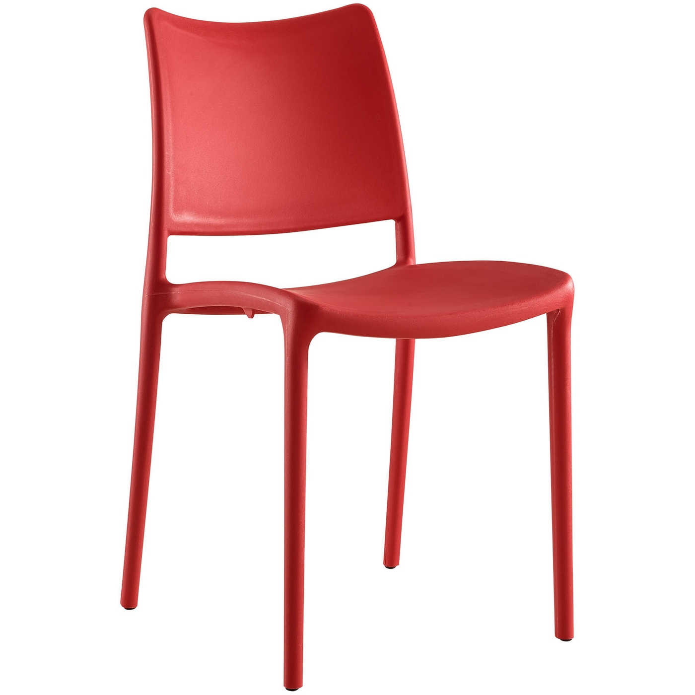 Hipster contemporary stackable plastic dining side chair red for Stackable dining room chairs